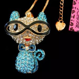 NWT•Betsy Johnson Blue crystal Cat in glasses long